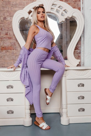Hayley Hughes Modelled Lilac Ribbed Three Piece Co-ord