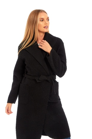 Long Belted Black Teddy Coat