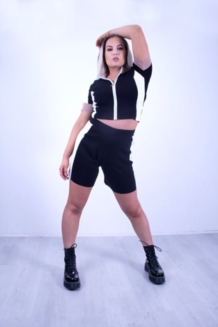 Premium O Ring Zip Front Colour Block Soft Knit Co-Ord