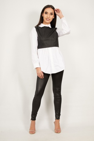 Black Two Tone PU Contrast Shirt