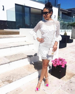 White Premium Crochet Overlay Frill Sleeve Dress