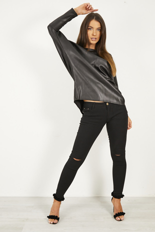 Black Pu Dipped Hem Top