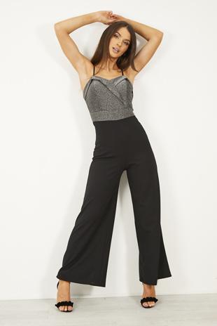 Black Glitter Bustier Jumpsuit