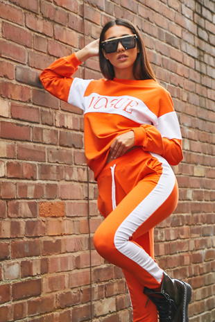Neon Orange Vogue Striped Loungewear Jogger Set