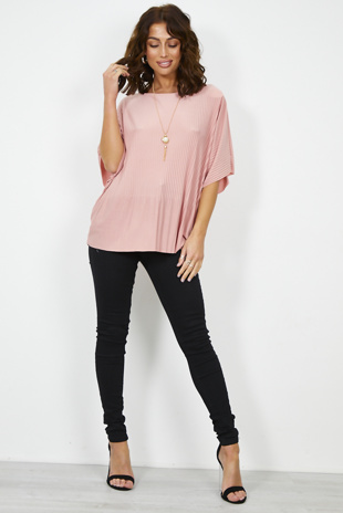 Nude Pink Pleated Blouse With Necklace