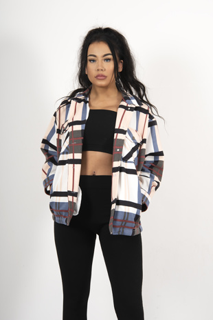 Pink And Blue Contrast Plaid Shacket