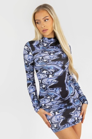 Blue Marble Print High Neck Bodycon Mini Dress