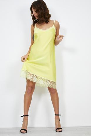 Lime Floral Lace Trim Cami Dress
