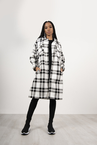 Black And White Multi Check Longline Shacket