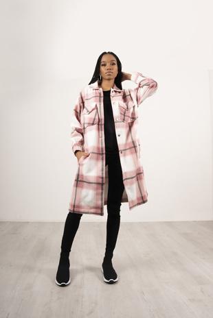 Pink Multi Check Longline Shacket
