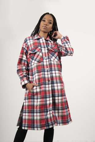 Red Multi Check Longline Shacket