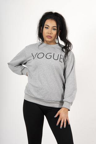 Grey Vogue Slogan Jumper