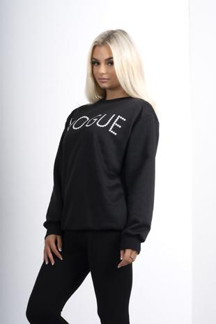 Black Vogue Slogan Jumper