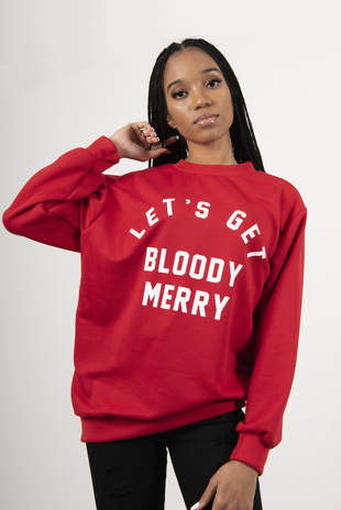 Red Lets Get Bloody Merry Christmas Jumper