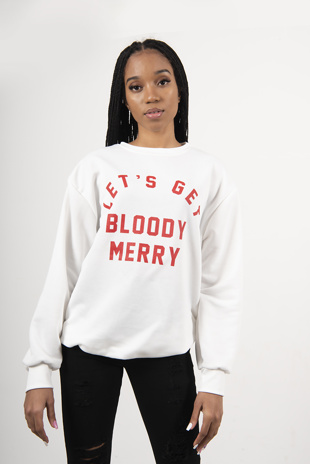 White Lets Get Bloody Merry Christmas Jumper