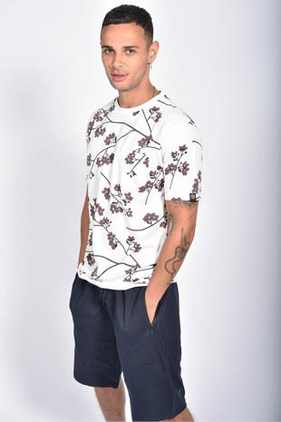 Mens Ecru Floral Printed Pocket T-Shirt