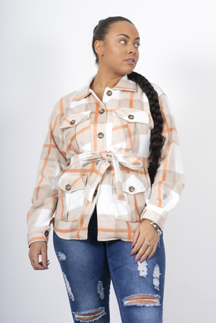 Beige Checked Belted Trucker Shacket