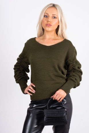khaki rushed sleeve jumper