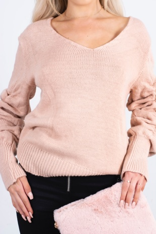 pink rushed sleeve jumper-Copy