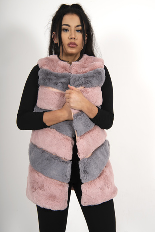 Pink And Grey Faux Fur Gilet