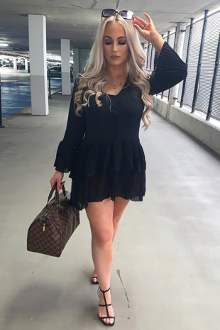 Black Ruffle Pleated Smock Mini Dress