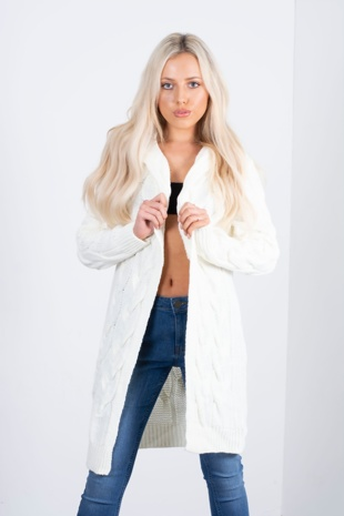 white cable knit hooded cardigan