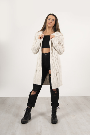 Beige Cable Knit Hooded Cardigan