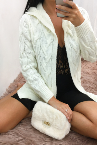 Cream Hooded Cable Knit Longline Cardigan