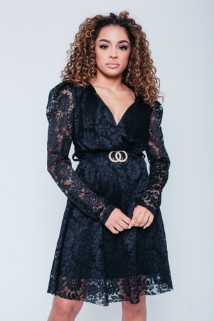 Black Plunge Lace Skater Dress