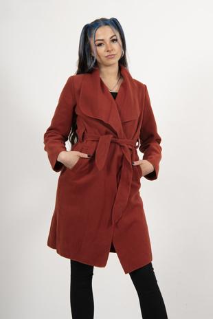 Rust Tie Front Shawl Collar Coat