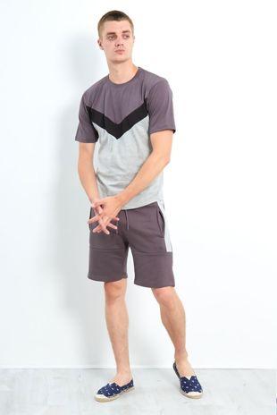 Mocha Contrasting Panel T-Shirt And Shorts Set