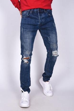 Mens Mid Denim Knee Ripped Skinny Jeans