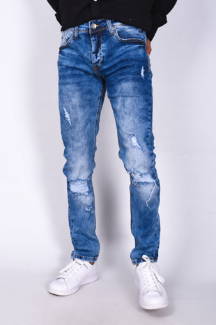 Mid Blue Denim Knee Ripped Skinny Jeans