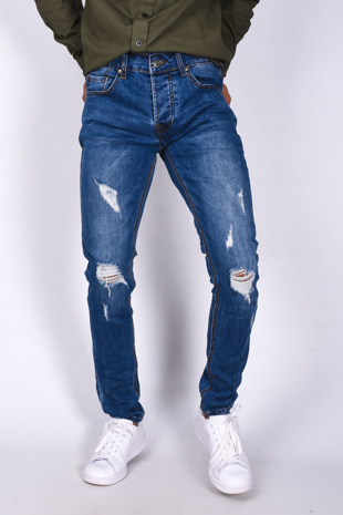 Mens Denim Knee Cut Skinny Jeans