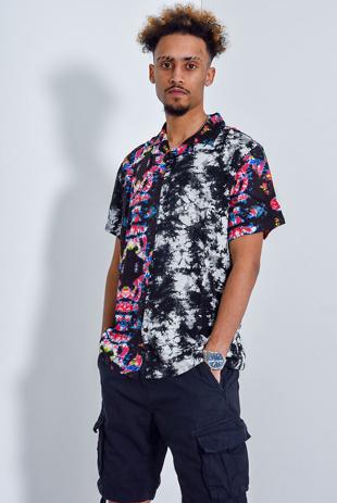 Men Abstract Print Short Sleeve Shirt
