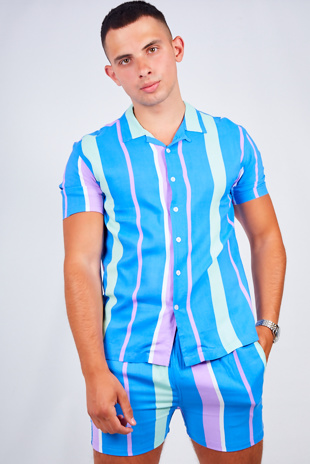 Mens Blue Striped Shirt And Shorts Set