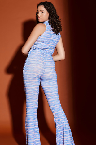 Blue Multi Ruched Crop Top and Flared Trouser Co-ord Set