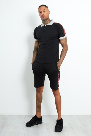 AJ190-Mens Black Polo Shirt And Short Set With Side Tape