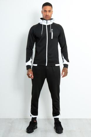 Aj248-Mens Black Contrast Zip Hood Skinny Tracksuit