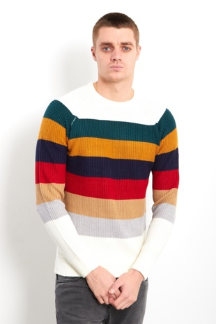 Rainbow Stripes On White Knitted Jumper
