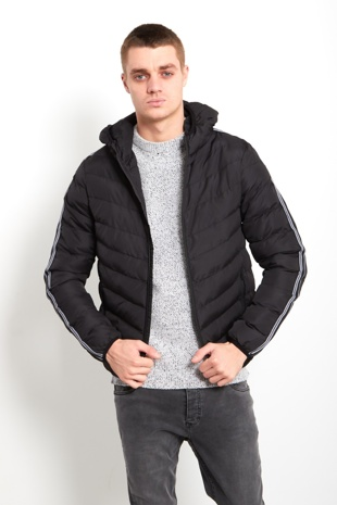 Mens Black Double Stripe Puffer Jacket
