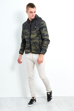 Black Mens Camo Contrast Windbreaker Jacket