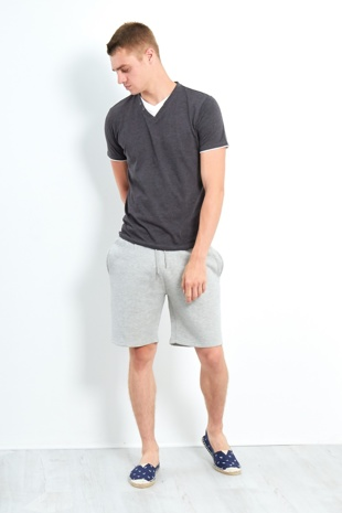 Mens Button Detail Can V Neck Tee