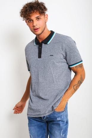 Mens Black Marl Striped Collar Polo Shirt