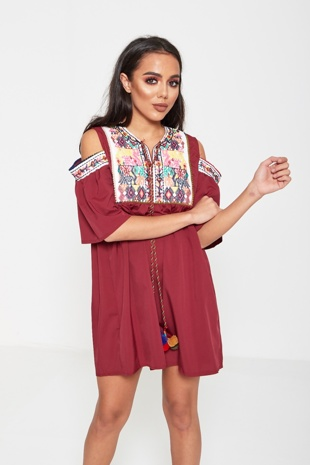 Wine Embroidered Cold Shoulder Mini Dress