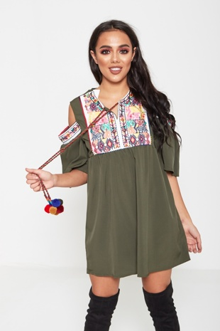 Khaki Embroidered Cold Shoulder Mini Dress
