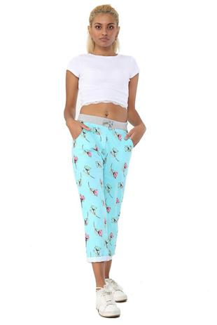 Aqua Dot Floral Print Trouser