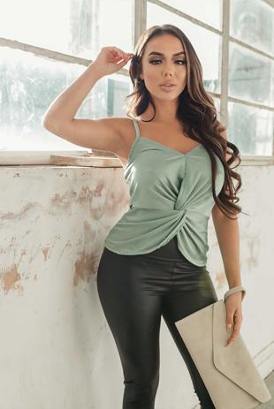 Arianna Ajtar Sage Green Knot Front Top