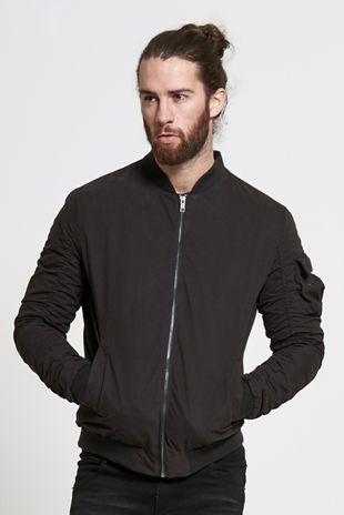 Mens Brave Soul Ruched Sleeve Bomber Jacket