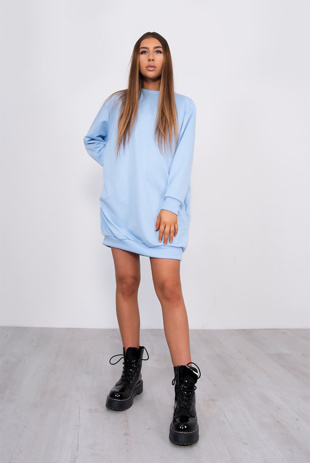 BABY BLUE OVERSIZED POCKET SWEAT DRESS
